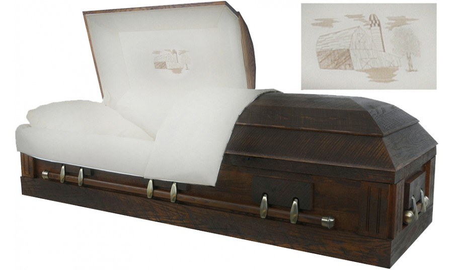 7870 - Camouflage Casket - Solid Wood Rustic Oak, Hunter's Casket,