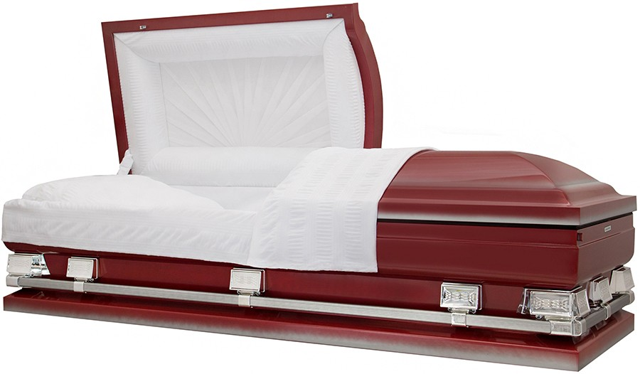 9344 29 Red Burgundy Casket W Silver Accents White Crepe Interior 29 Inside 29 1 4 Outside