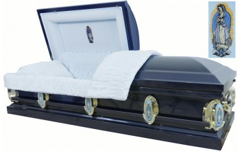 2204 - Guadalupe Casket, Virgin Mary, Navy,  18ga Light Blue Velvet