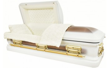 2206 - Eggshell White Casket, Copper Brush 18g Lt Yellowish Beige Velvet, Gold Hardware