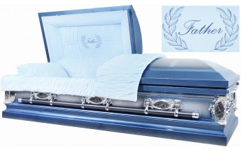 2207 - Father Casket, 18ga Light Blue w/ Silver Accents Light Blue Velvet Interior
