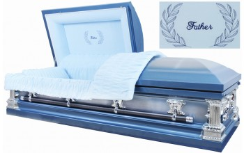 2209 - Father Casket Light Blue Metallic w/ Natural Brush Light Blue Velvet Interior