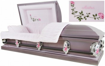 2211 - Mother Casket 18ga Lavender Metallic w/ Silver Accent, Pink Velvet