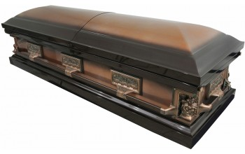 2216 - La Pieta Casket , Last Supper Casket, 18ga Brown Metallic w/ Bronze Brush Lt Yellow Bei
