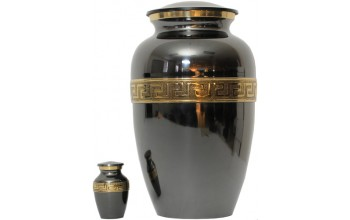 30A - Brass Urn Velvet Box plus 1 Keepsake Black/ Mirror Finish