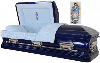3550 - 18 Gauge Steel Casket Blue Casket with Light Blue Velvet
