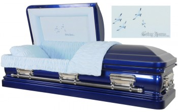 3552 - 18 Gauge Steel Casket Blue Casket with Light Blue Velvet
