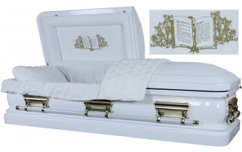 3555 - 18 Gauge Steel Casket White finish - Quilted Velvet - Gold Hardware
