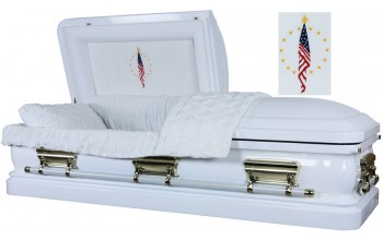 3556 - Fallen Flag Casket, 18ga White finish - Quilted Velvet - Gold Hardware