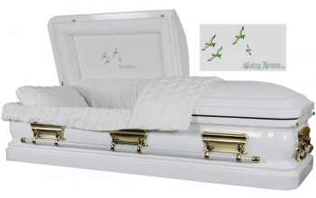 3559 - 18 Gauge Steel Casket White finish - Quilted Velvet - Gold Hardware