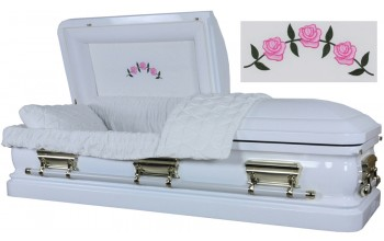3562 - 18 Gauge Steel Casket White finish - Quilted Velvet - Gold Hardware
