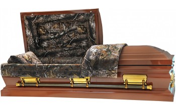 4578 - Camouflage Casket - 18 Gauge Dark Brown Finish - Hunter's Casket Camouflage Interior