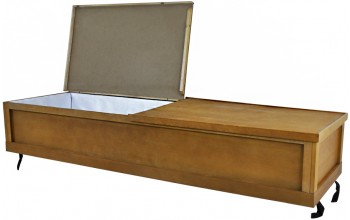4704 - Cremation Casket, Brown Cardboard w/ Wood Frame Pillow, Poly Silk Lining, Walnut Veneer
