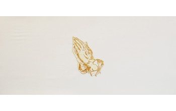 601-A - Praying Hands head panel White Velvet with Brown Embroided Hands