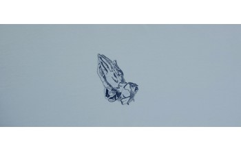 601-B - Praying Hands head panel Light Blue Velvet with Blue Embroided Hands