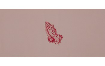 601-C - Praying Hands head panel Pink Velvet with Pink Embroided Hands
