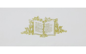 603-A - Lords Prayer head panel White Crepe with Gold Embroidery
