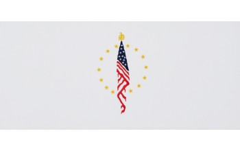 604-A - Flag head panel White Velvet with Blue, Red, and Gold Embroidery