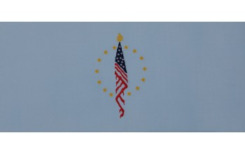 604-B - Flag head panel Blue Velvet with Blue, Red, and Gold Embroidery