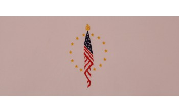 604-C - Flag head panel Pink Velvet with Blue, Red, and Gold Embroidery