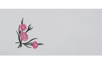 605-A - Carnation head panel White Velvet with Pink and Green Embroidery