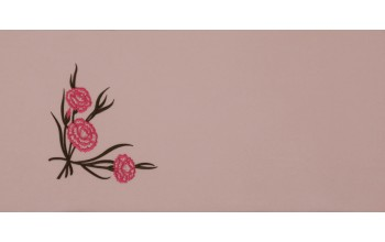 605-C - Carnation head panel Pink Velvet with Pink and Green Embroidery