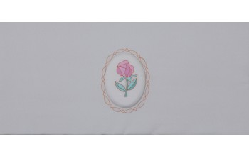 606-A - Raised Rose head panel White Crepe with Pink Rose Embroidered