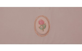606-C - Raised Rose head panel Pink Velvet with Pink Rose Embroidered