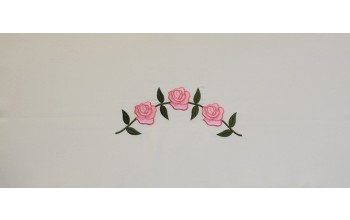 608-A - Three Roses head panel White Crepe with Pink and Green Embroidery