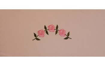 608-C - Three Roses head panel Pink Velvet with Pink and Green Embroidery