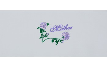 609-A - Mother head panel White Velvet with Purple Embroidery