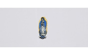 611-A - Mary head panel White Crepe with Gold and Blue Embroidery