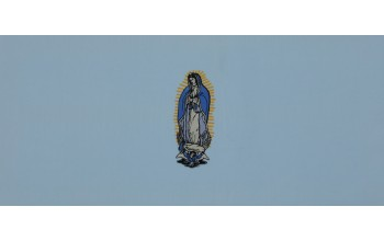 611-B - Mary head panel Blue Velvet with Gold and Blue Embroidery