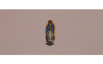 611-C - Mary head panel Pink Velvet with Gold and Blue Embroidery