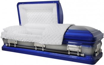 6128 - Medium Blue Casket 18ga White Velvet Interior, Silver Hardware, Natural Brush