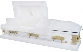 6256 - 18 Gauge Steel Casket White Finish White Velvet Interior