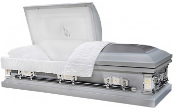6314-B - Praying Hands Casket, 18ga White Velvet, Silver Brush
