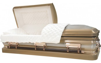 6322 - Champagne Casket W/ Natural Brush, 18ga Beige Velvet Interior