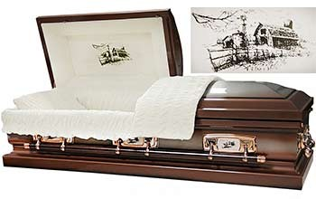 6402 - Farm Scene Casket, 18ga Dark Brown Casket/ Silver brush with Cream Velvet