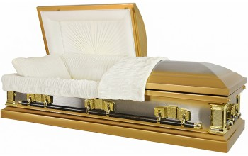 6407 - 18 Gauge Steel Casket Gold Casket with Beige Velvet Interior