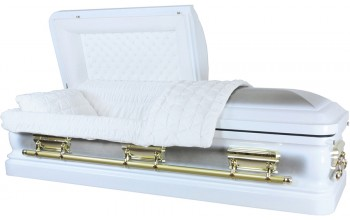 7323 - White Casket, Natural Brush 18g Thick White Velvet, Gold color hardware
