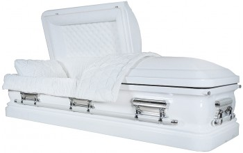 7453 - 18 Gauge Steel Casket White finish - Quilted Velvet - Silver Hardware