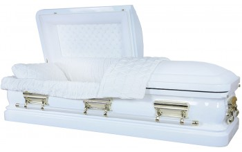 7454 - 18 Gauge Steel Casket White finish - Quilted Velvet - Gold Hardware