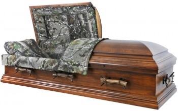 "7894X - Oversized Casket, Camo Casket - Solid Wood, Rustic Hickory, MOSSY OAK, Elk Antlers, 26"" in, 32 1/2"" out"