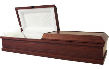 7906 - Cremation Casket  White Crepe  Interior No Bed, Minimal Metal Parts