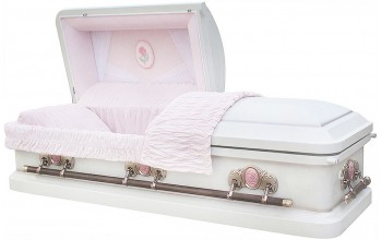 8000 =8049- Cameo Rose Casket 18ga Light Pink Velvet, Gold finish hardware