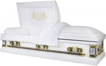 8016 - Lords Prayer Casket 18ga White Velvet, Crosses, Praying Hands