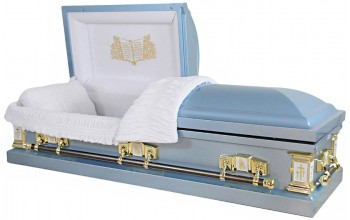 8025  - 18 Gauge Steel Casket  Blue Finish White Velvet