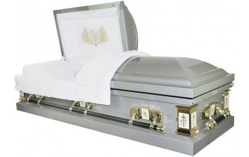 8026 - 18 Gauge Steel Casket White Velvet Interior