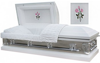 8034 - 18 Gauge Steel Casket White, Mirrored Sides, White Velvet